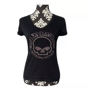 Harley Davidson Medium Womens Black Bling Pink Sku